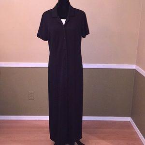 Nordstrom Size 14 Black Button Down Maxi Dress
